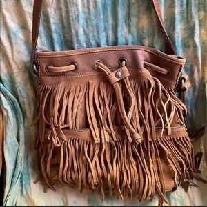 Patricia Nash Suede Fringe Boho Crossbody Bag